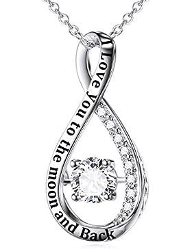 Sterling Silber Infinity Anhänger Halskette Zirkonia Unendlichkeit Halskette mit Rolo Kette 18
