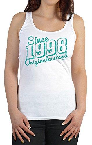 Damen Tanktop zum Geburtstag - Since 1998 Originalzustand - Trägershirt, Farbe: weiss Weiß