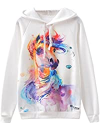 Lenfesh Animal Imprimir Creativa Sudadera Mujer Capucha Pintada Estilo De Hip Hop Camisetas Blanco