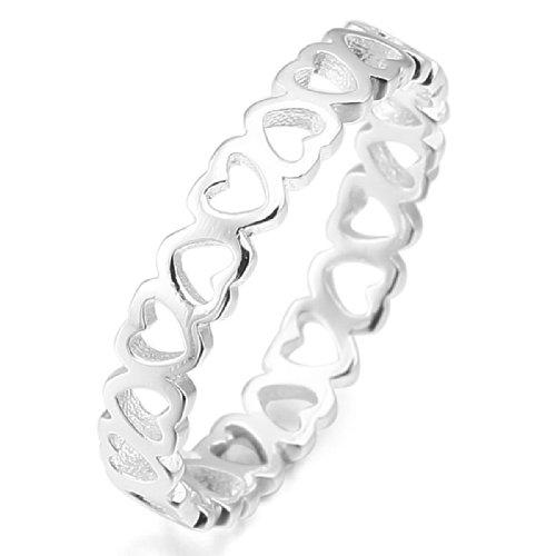 MunkiMix 925 Plata Anillo Ring Plata Corazón Heart Alianzas Boda Amor Love Talla Tamaño 12 Mujer