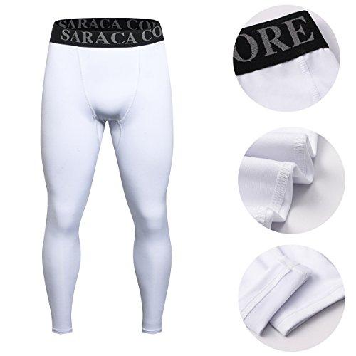 Saraca Core Männer lang Unterhose Unterwäsche Strumpfhose Herren Kompressions Leggings Pants Hosen Weiß
