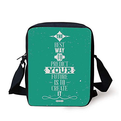 Quote,The Best Way to Predict Your Future is to Create It Calligraphy Motivational Quote,Turquoise Print Kids Crossbody Messenger Bag Purse