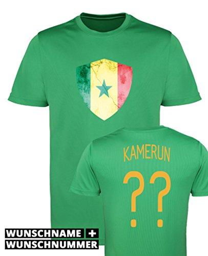 Comedy Shirts - Kamerun Trikot - Wappen: Groß - Wunsch - Herren Trikot - Grün/Gelb Gr. XXL
