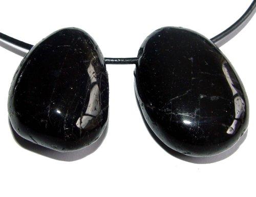 1 x Turmalin schwarz Schörl flach gebohrt mit Band Nr. 2271