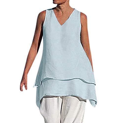 Tolle Trio Kostüm - CAOQAO Freizeithemd Rundhalsausschnitt Leinen Einfarbig Hemd Boho Lose Lose Hemd Literarische Damenbekleidung(Blau,XL)