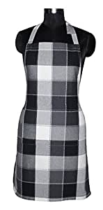 AIRWILL Cotton Yarn-Dyed Check Apron with Center Pocket, Adjustable Buckle on Top and 2 Long Ties on 2 Sides, 65x80cm, Jacquard Black, Grey and White