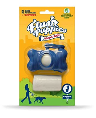 Flush Puppies Flushable Dog Poo Bag Bone Dispenser Rolls, White, Pack of 2