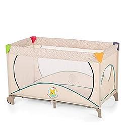 Hauck Kindereisebett Dream N Play Go Plus Disney, inklusive Rollen, seitlichem Reißverschluss, Matratze und Tasche, 120 x 60 cm, ab Geburt, tragbar und faltbar, beige (Pooh Ready to Play)