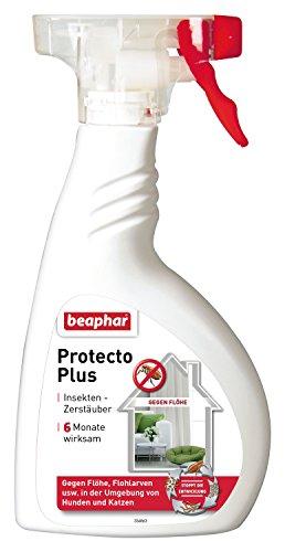 Protecto Plus Flohspray | Umgebungsspray gegen Flöhe | Auch gegen Zecken, Läuse | Zielgenaue Dosierung, z.B. für Hundekorb | 6 Monate wirksam | 400 ml