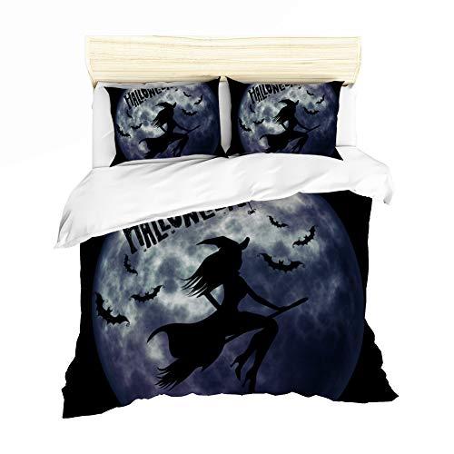 Bettbezug Halloween Bettwäsche, Kinderkarikatur Einzelbett King-Size-Bett, lichtechtes Polyester, Bequeme Bettwäsche,Black,UKdouble ()