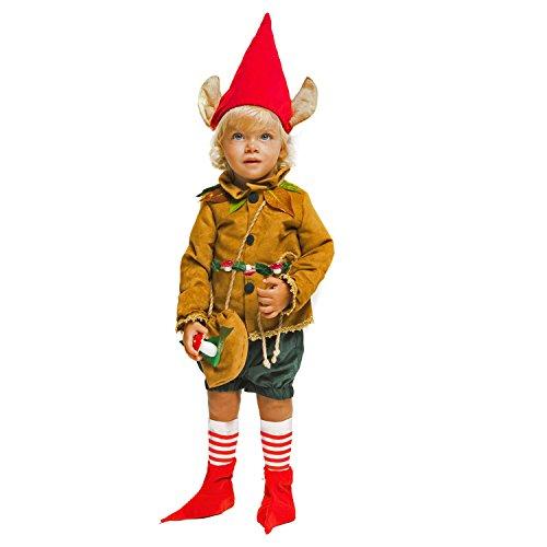 Krause & Sohn Kinderkostüm Waldelf Deluxe Elf braun grün Kleinkind Zipfelmütze Zwerg Kobold Troll Elfenohren Fasching Karneval (98) (Troll Kostüm Für Kleinkind)