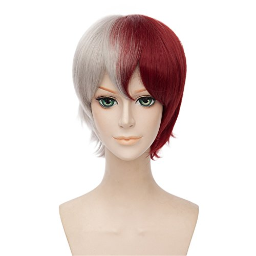 LanTing Cosplay Perücke My Hero Academia White Mix Red Perücke Corta Styled Frauen Cosplay Party Fashion Anime Human Costume Full wigs Synthetic Haar Heat Resistant Fiber