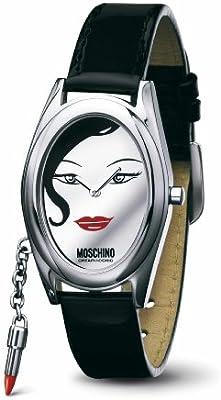 Moschino MW0052 - Reloj analógico de mujer de cuarzo con correa de piel negra - sumergible a 30 metros