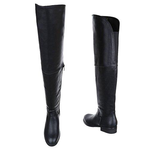 Damen Schuhe, W16106, STIEFEL OVERKNEE Schwarz
