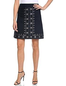 oodji Ultra Mujer Falda de Lino con Decoración Metálica Étnica