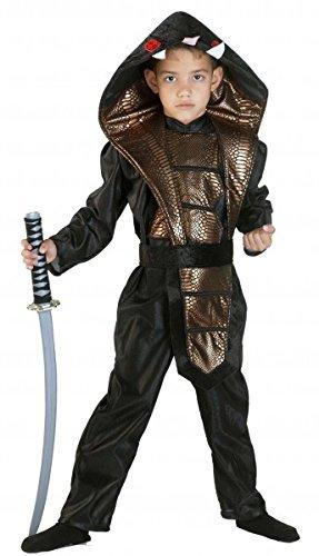 Premium Ninja-Kostüm für Jungen mit Kapuze und Gürtel | Hochwertiges Karnevals-Kostüm / Faschings-Kostüm / Kinderkostüm | Perfekte Cobra- Kämpfer Verkleidung für Karneval, Fasching, Fastnacht (Größe: ()