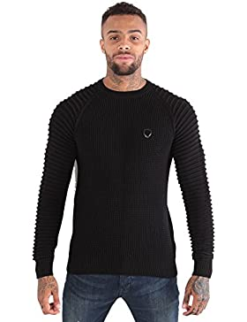 883 POLICE Don Textured Knit Crew Neck Sweater | Black