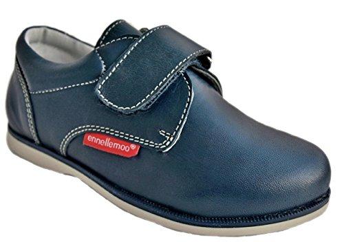 Pour enfant-garçon-baskets, chaussures et chaussons-mocassins-elagante-garçon-chaussures pour communion, fêtes-combinaison-les petits enfants-école-en cuir véritable-fermeture velcro Bleu - blau/stahlblau