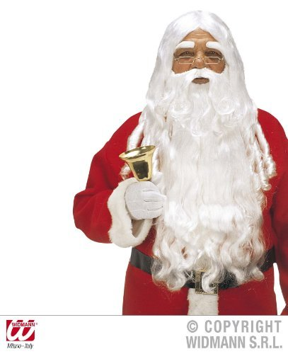 Santa Claus Perücke - Weihnachtsmann Perücke de luxe - Widmann mit Bart, Schnurrbart + Augenbraunen