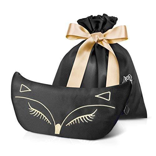 Sanfte Haar-relaxer (Mecoola Schlafmaske, natürliche Silk Eye Mask & Augenklappe Augenbinde mit Verstellbarem Gurt, Glatter Bezug Sexy Fox Eye für Nacht Schlafen, Reisen, Nap (Deep Blue Set), Schwarz)