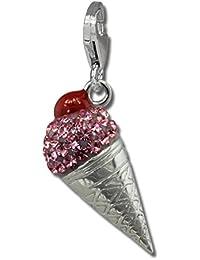 SilberDream poposh takasugi 3D cono gelato rosa rosso ciliegia con cristalli a forma di argento 925 per collane e braccialetti GSC567A