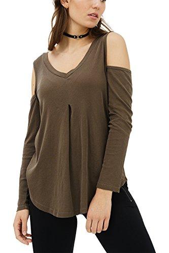 trueprodigy Casual Damen Marken Long Sleeve einfarbig Basic, Oberteil cool und stylisch mit V-Ausschnitt (Langarm & Slim Fit), Langarmshirt für Frauen in Farbe: Oliv 1182505-0516-S