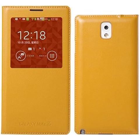 CO.JOY Funda Carcasa S View Cover Case para Samsung Galaxy Note 3 N9000 / N9005 (CON chip)+ Protectores de Pantalla & Stylus PEN, Cubierta magnética con modo reposo (Galaxy Note 3 N9000 (con ventana&chip),