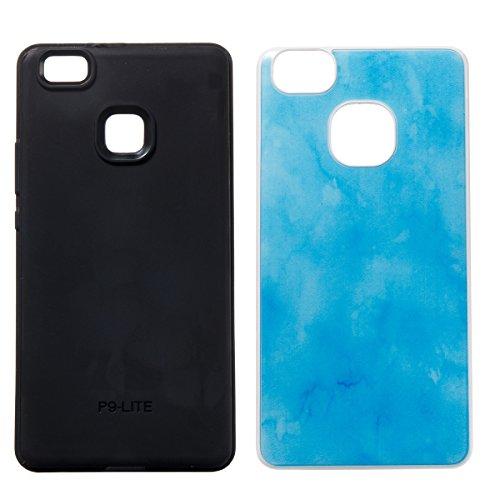 Huawei P9 Lite Custodia, Huawei P9 Lite Cover, JAWSEU Huawei Ascend P9 Lite Protezione Completa 2 in 1 Duro PC e Morbida Gel Silicone Custodia per Huawei P9 Lite Cover Protectiva Bumper Case Cassa Gom Blu