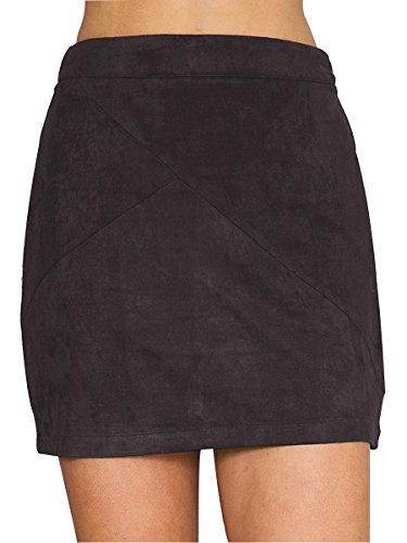 Simplee Apparel Damen Winter Herbst Elegant Hohe Bund A-Linie Retro Wildleder Rock Rot Schwarz Rosa (Damen Stiefel Winter Neue)
