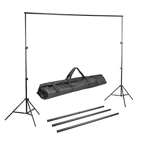 MVPOWER Studio Hintergrundsystem Profi Fotostudio Teleskop Fotoständer inkl. Tragtasche (2X3M Stativ ohne Stoff)