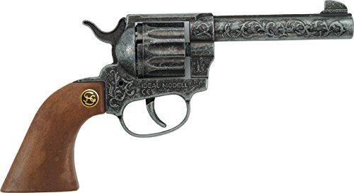 antik Spielzeugpistole oder Cowboy-Revolver ausZink und Kunststoff für Zündplättchen-Munition, 12 Schuss, 22 cm, grau / silber (203 8671) ()