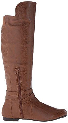 Fergalicious Rodeo Rund Kunstleder Mode-Knie hoch Stiefel Cognac