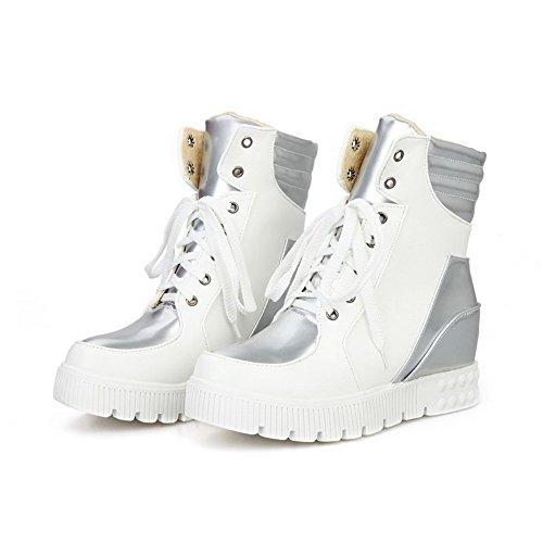 AgooLar Damen Rund Zehe Mittler Absatz Niedrig-Spitze Gemischte Farbe Stiefel Weiß