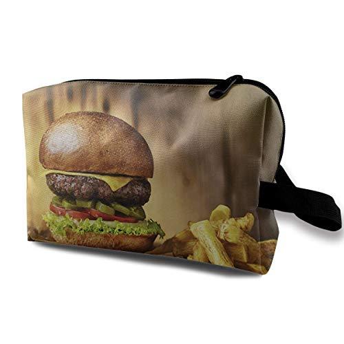 Travel Makeup Cosmetic Bag Brush Pouch Tomato Beef Hamburger Zipper Pen Organizer Carry Case black makeup bag -