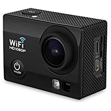 "Q5 - Cámara Deportiva DV (2.0"" HD LCD Pantalla, Lente 170ºHD, Impermeable 30M, WiFi para IOS y Android, 32GB Max HD DV, Visión Nocturna, 12MP, H.264, HD 1080P, Anti-Vibración) (Negro)"