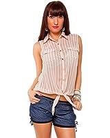 24brands Damen Business Bluse Kurzarm Gestreift Shirt - 2112