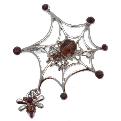 Acosta - Swarovski Kristall Violett & Perlen - Spinnennetz Brosche Gothic - SILBER - Geschenkverpackung