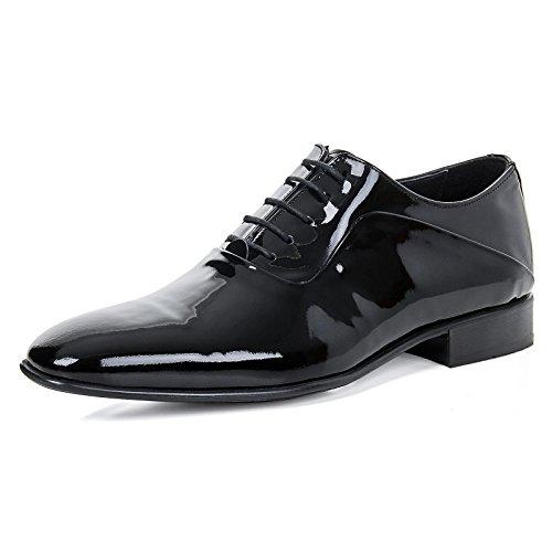 Alessandro Tonelli Herren Echteder Schuhe Smoking Schnürschuhe Halbschuhe Leder Business Lack Hochzeitsschuhe AT1156, Farbe:Schwarz, Schuhgröße:EUR (Smoking Schuhe)
