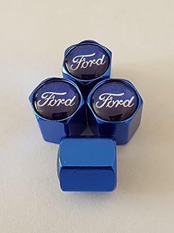FORD deluxe blau Legierung Ventil Kappen diese Staubkappen passen alle Modelle einschließlich FIESTA FOCUS KUGA KA (3)