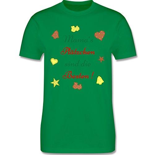 Weihnachten Geschenk für Erwachsene - Mama's Plätzchen sind die Besten Backen - L190 - Premium Männer Herren T-Shirt mit Rundhalsausschnitt Grün