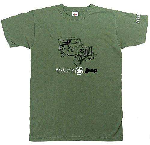 Willys Jeep MB T-Shirt (2. Weltkrieg Militär US Army)–Oliv Grün in Größe XXL (47bis 124,5cm)–--- siehe bitte Unsere anderen Angebote für alle anderen Größen des dieses Shirt (Xxl Hut Militär)