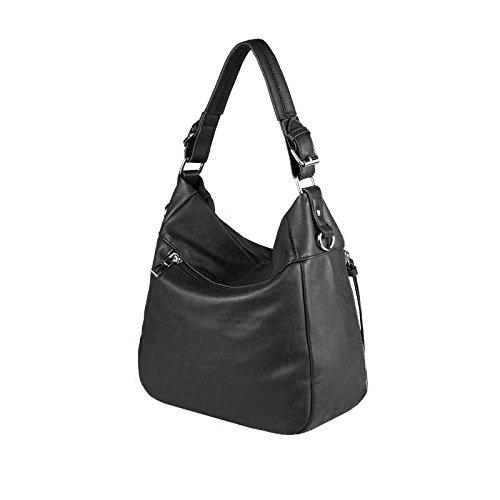OBC DAMEN TASCHE HANDTASCHE Shopper METALLIC Hobo-Bag Henkeltasche Schultertasche Umhängetasche CrossOver Tote-Bag (Silber 37x29x13 cm) Schwarz 37x29x13 cm