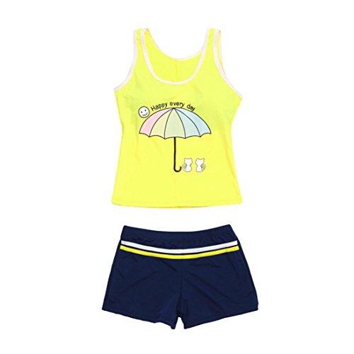 Regenschirm Fotoausrüstung (XXYsm Baby Mädchen Karikatur Katze Regenschirm Letter Print Ärmellose Zweiteiler Bikini Schwimmanzug (Gelb, 6-8 Jahre))