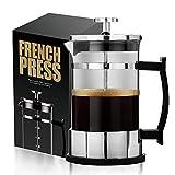 HwaGui Cafetière à Piston, French Press avec Filtres en Acier Inoxydable Verre...