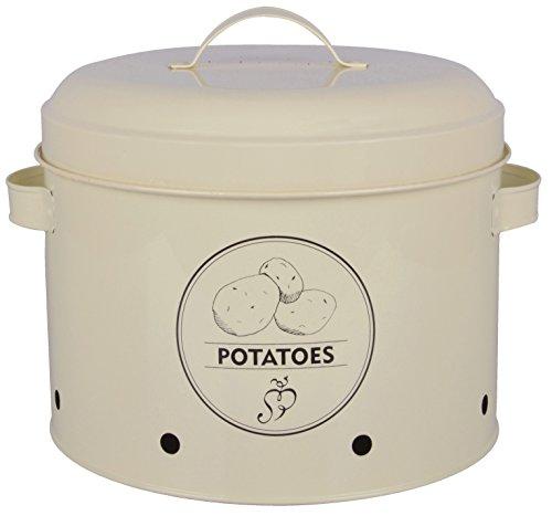Maceta de patatas de acero al carbono Color CremaCaja de almacenamiento 'patata' con tapa para almacenamiento óptimo de patatas. Protege el contenido de la Luz y que garantiza que la patata con el ringsrum running aberturas Keep it fresco y seco. Hec...