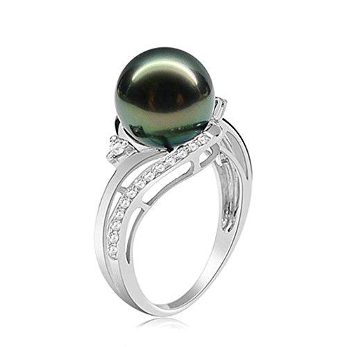 AmDxD Schmuck 925 Silber Verlobungsringe Damen Ringe Tahiti Perle Weiß Cubic Zirkonia Antragsringe Gr.57 ()