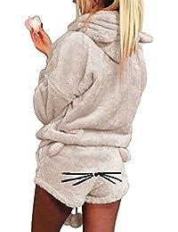 9ef3656ca7 2pcs Women Cat Pajamas Cute Girls Sleepwear Soft Bathrobe Shorts Winter  Lounge Sleepwear Sets