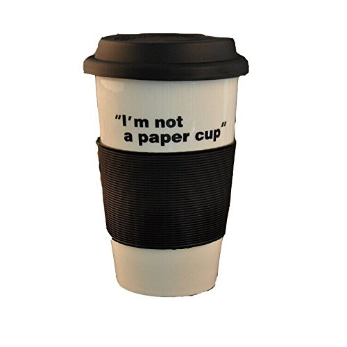 HooshionÃ'® Ceramic Coffee Mug Reusable To-Go Mug Travel Cup With Silicone Cover Lids and Insulated Sleeve (Black) by Hooshion