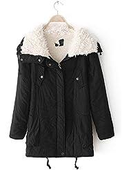 ZQQ Estilo europeo cordero piel abrigo XL zip alrededor de cartera recto manga larga con capucha chaqueta de invierno de las señoras , black , xl