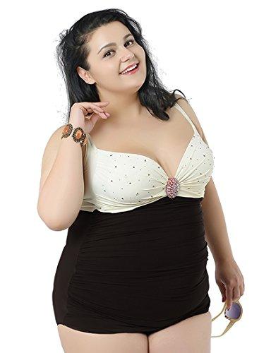 Niseng Mujer Tankini Bañadores Escotado Por Detrás Una Pieza Talla Grande Blanco 5XL